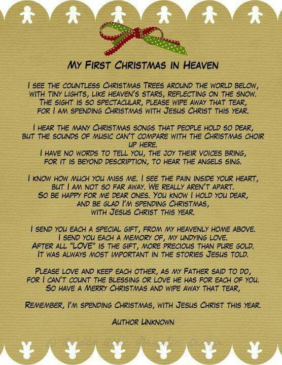 First Christmas Without You Christmas In Heaven Heaven Poems Christmas In Heaven Poem