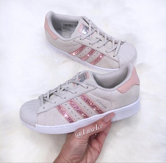 Adidas Originals Superstar Grau X2f Icey Rosa Mit Swarovski Adidas Superstar Adidas Superstar Pink Sneakers