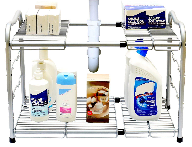 AmazonSmile: DecoBros Under Sink 2 Tier Expandable Shelf Organizer, Silver: Kitchen & Dining