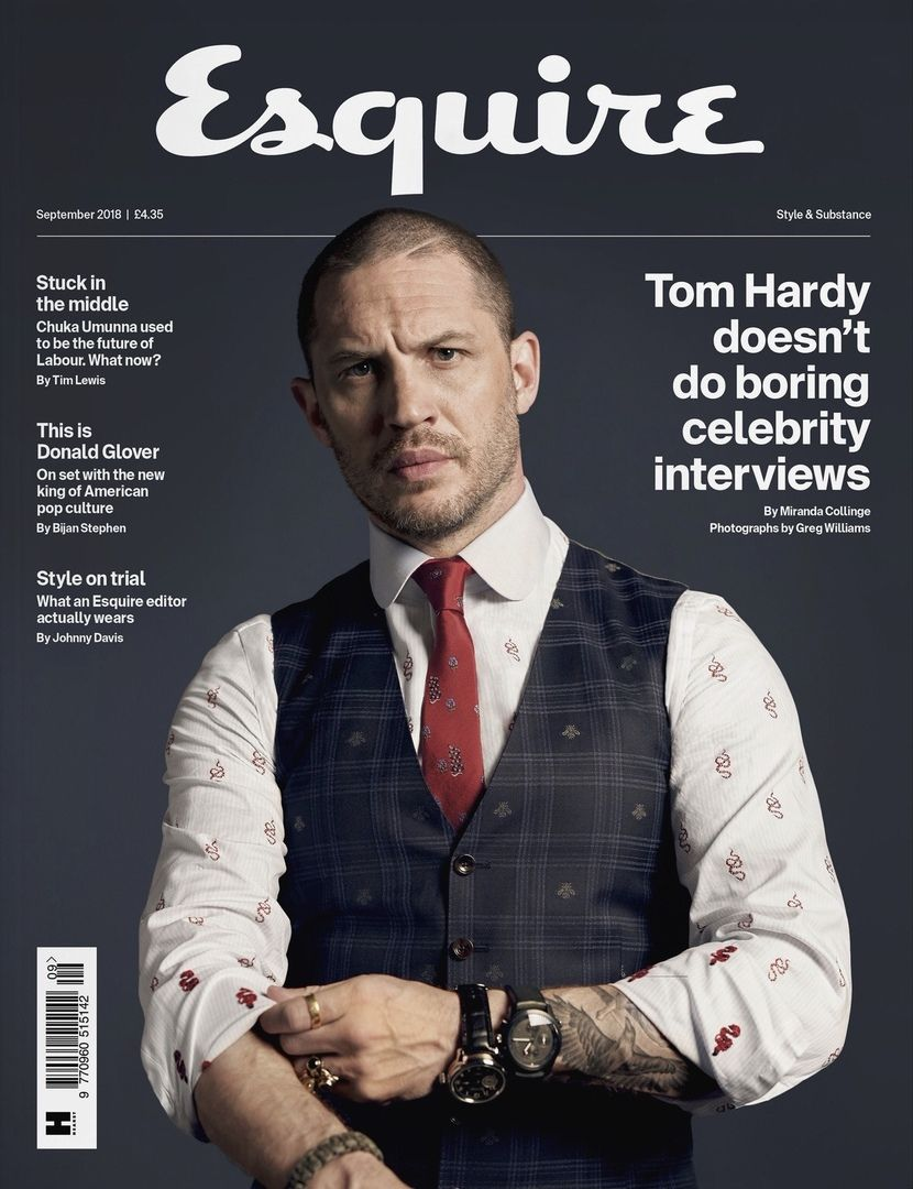 Tom Hardy for Esquire UK // September 2018 photographed by