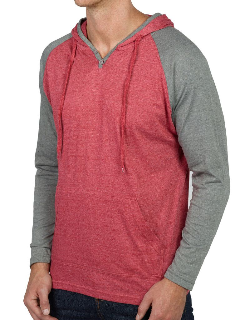 Mens Long Sleeve Color Block Raglan Henley Shirt with Hood ...