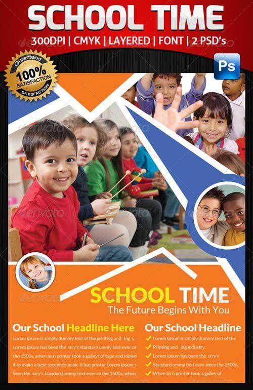 Graphicriver junior school education flyer template bundle free u2can pinterest for Education flyer templates
