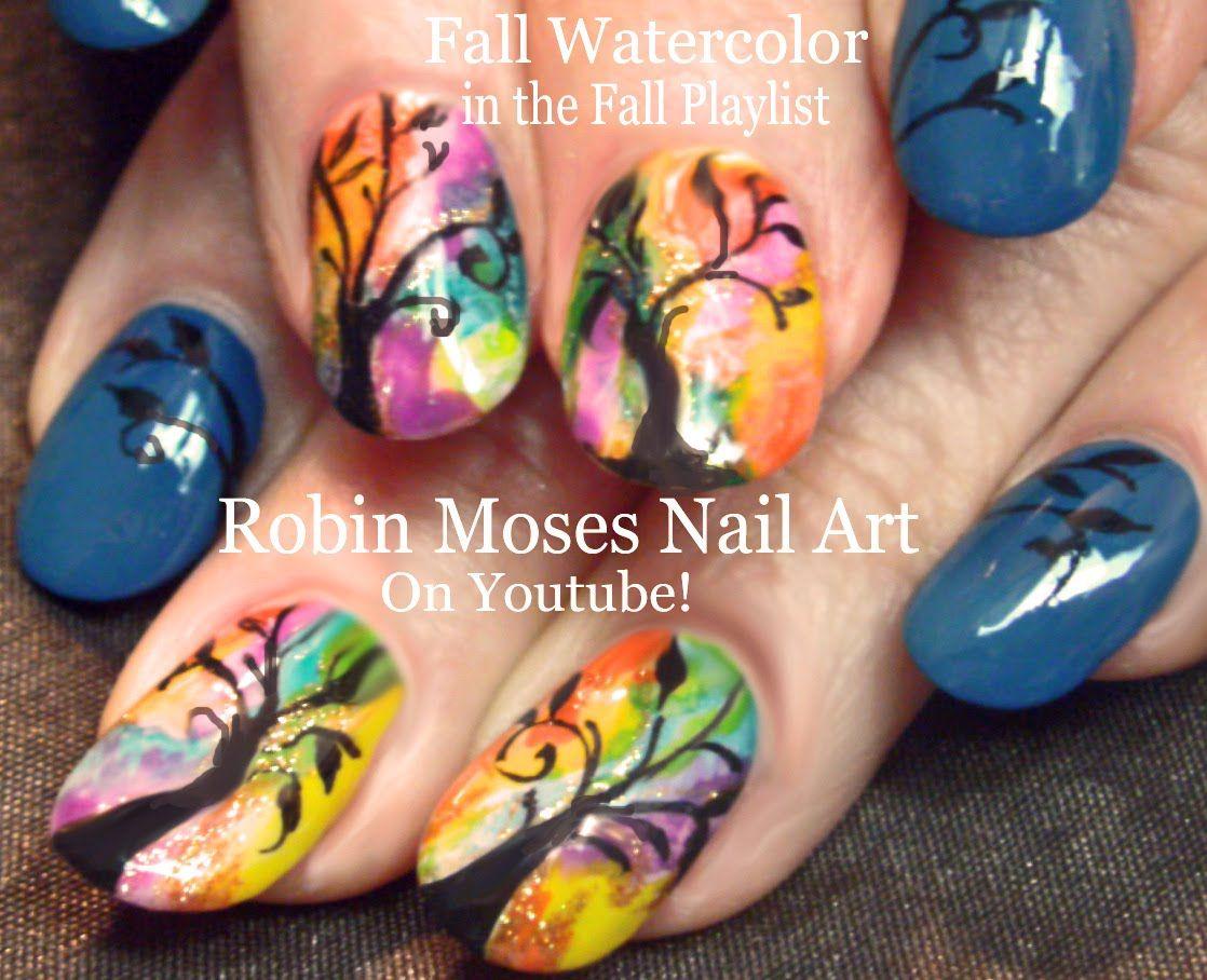 Nail Art! Easy DIY Rainbow Watercolor Nails! Fall Tree Nail Design ...
