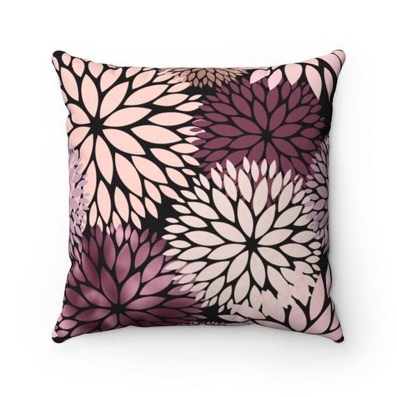 Boho Pillow Cover, Couch Accent Decorative Pillowcase, Dahlia Blush, Pink Plum, Modern Abstract Art