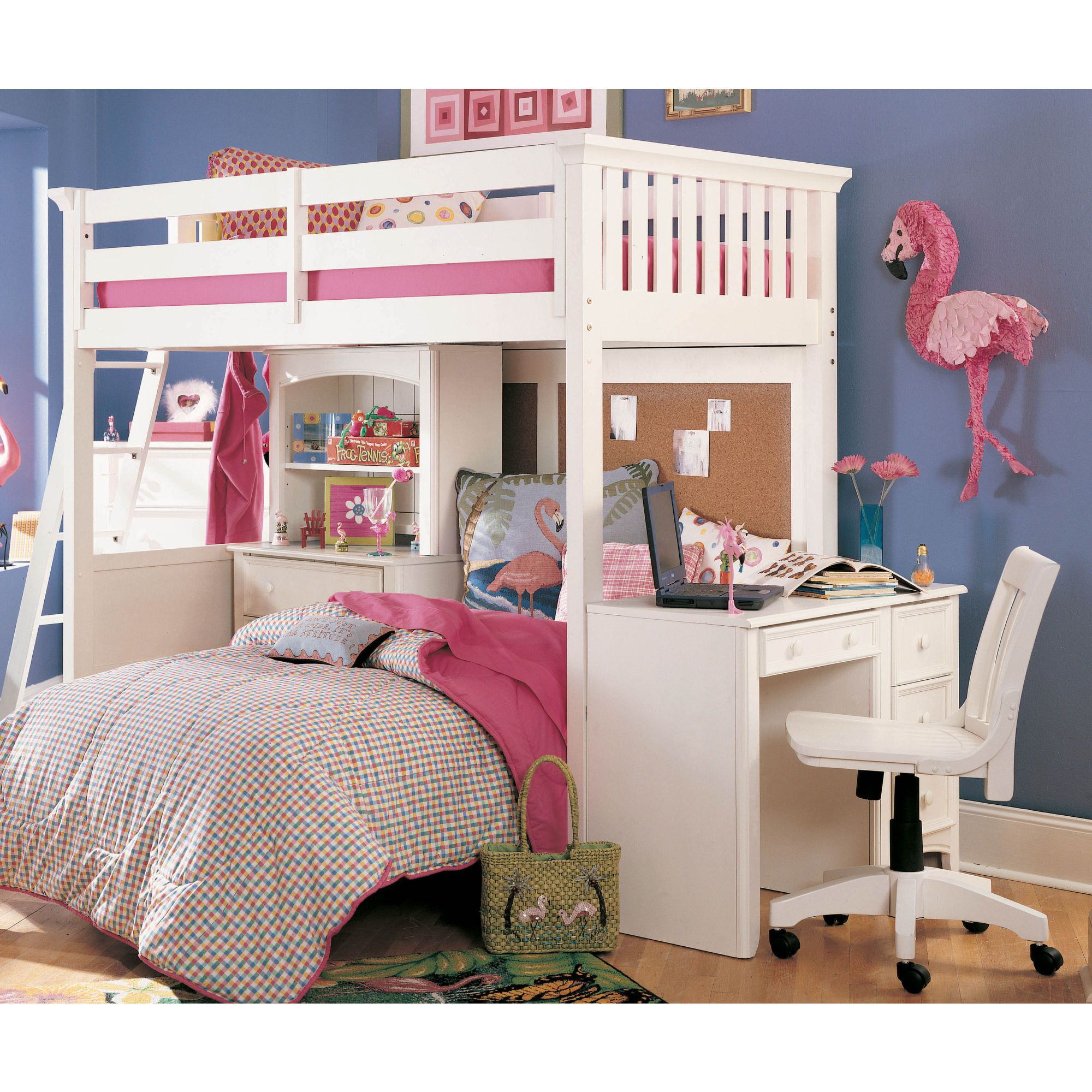 Loft bed with slide and desk  Possible idea for the girls bunk bed put a queen on bottom for