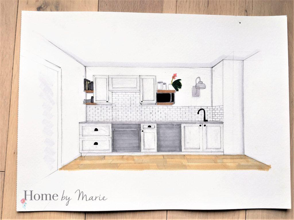 Croquis aménagement intérieur perspective cuisine claire lumineuse