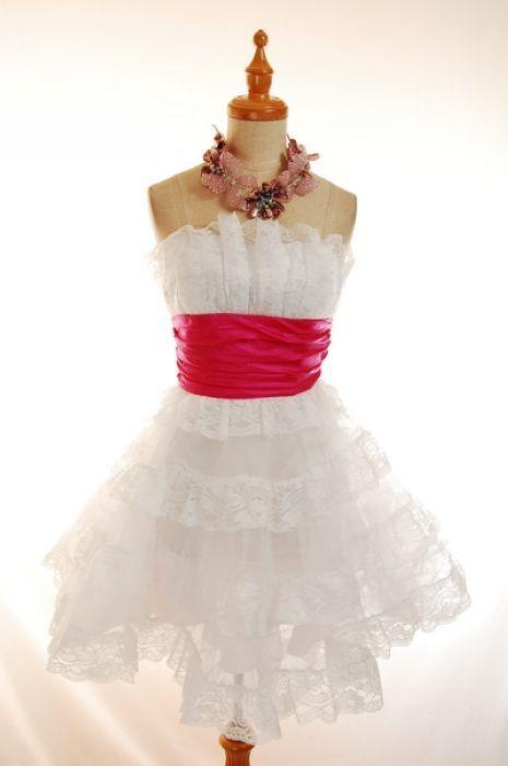 6d8cbdb99c NWT Betsey Johnson White Mini Tea Party Prom Dress 6