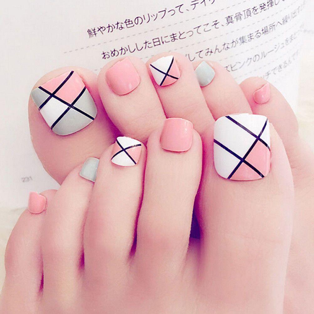2 2 24pcs Foot False Nail Tips Cute Fake Toes Nails With Glue Toe Art Tool Ebay Fashion Feet Nail Design Summer Toe Nails Cute Toe Nails