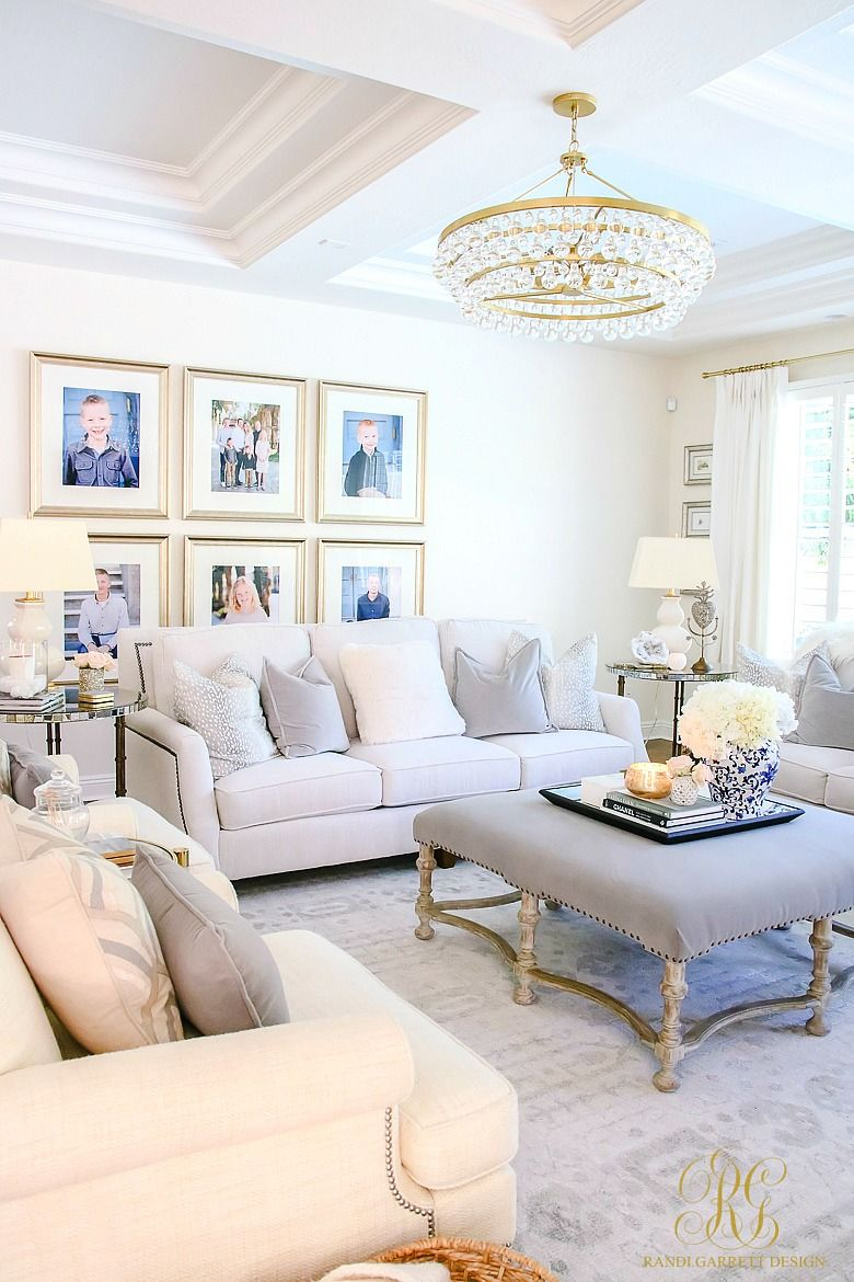 How to Create a Livable + Beautiful Family Room - Randi Garrett Design. Family pictures make a house a home. Glam transitional living room with white ... & How to Create a Livable + Beautiful Family Room | Pinterest ...