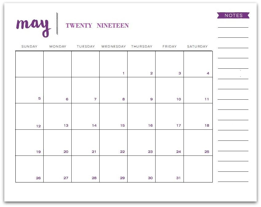 Blank May 2019 Calendar With Notes Printable Calendar Template