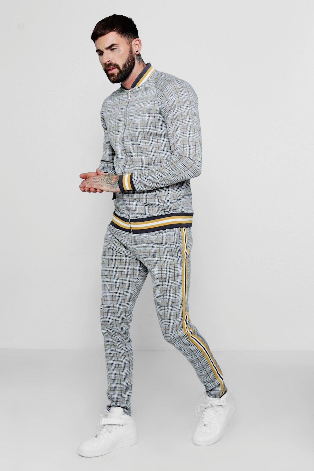 880a3b5d6a2b33 Shop Checked Smart Jogger And Bomber Set With Tape Detail at boohooMAN.  Discover our range of men's Men's Tracksuits