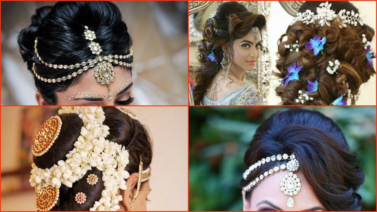 10 Most Beautiful Indian Bridal Hairstyle Images Youtube New Bridal Hairstyle Bridal Hair Images Wedding Hair And Makeup