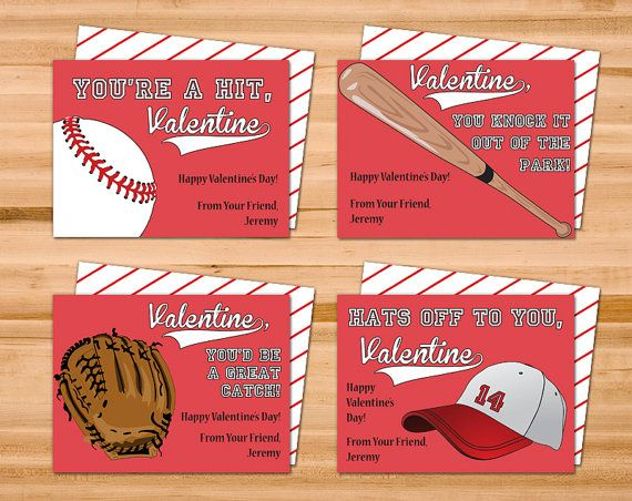 Printable Personalized Baseball Valentine Cards Four 4