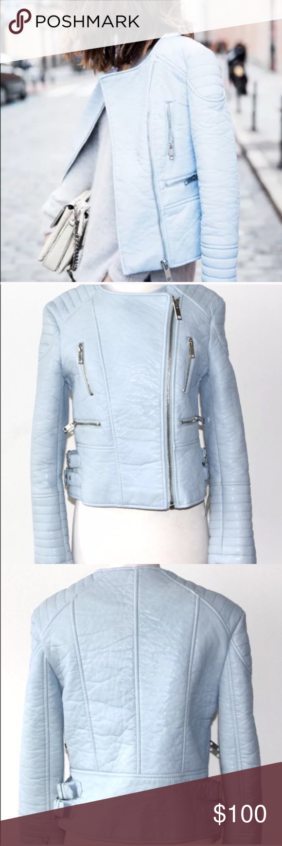 Zara baby blue faux leather motorcycle jacket Size small. Worn once. Excellent condition. Zara Jackets & Coats
