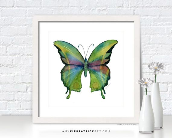 Green BUTTERFLY Painting Butterfly Art by AmyKirkpatrickArt