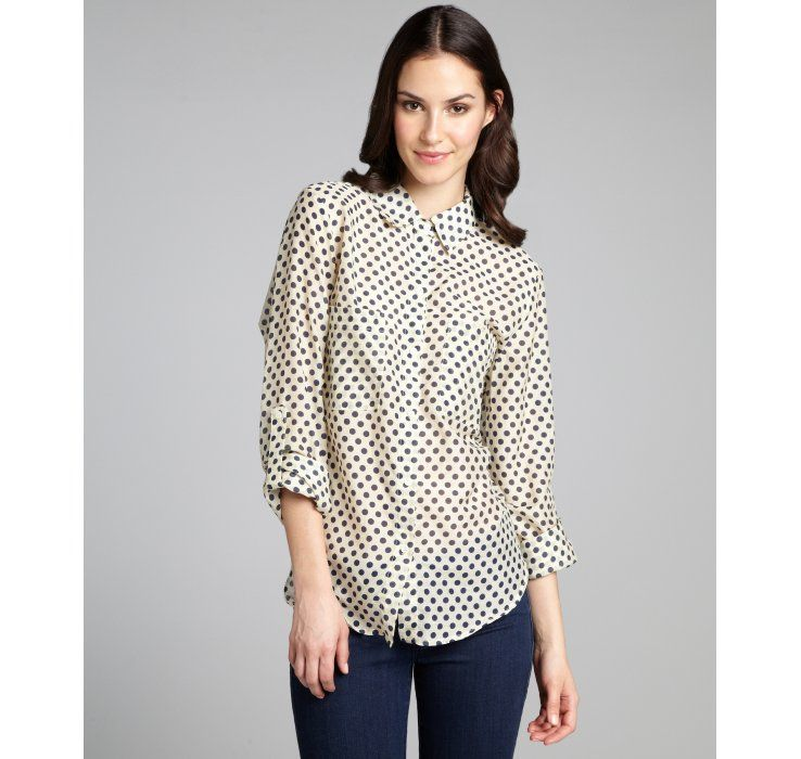 Matty M cream and navy polka dot silk-cotton blend button blouse