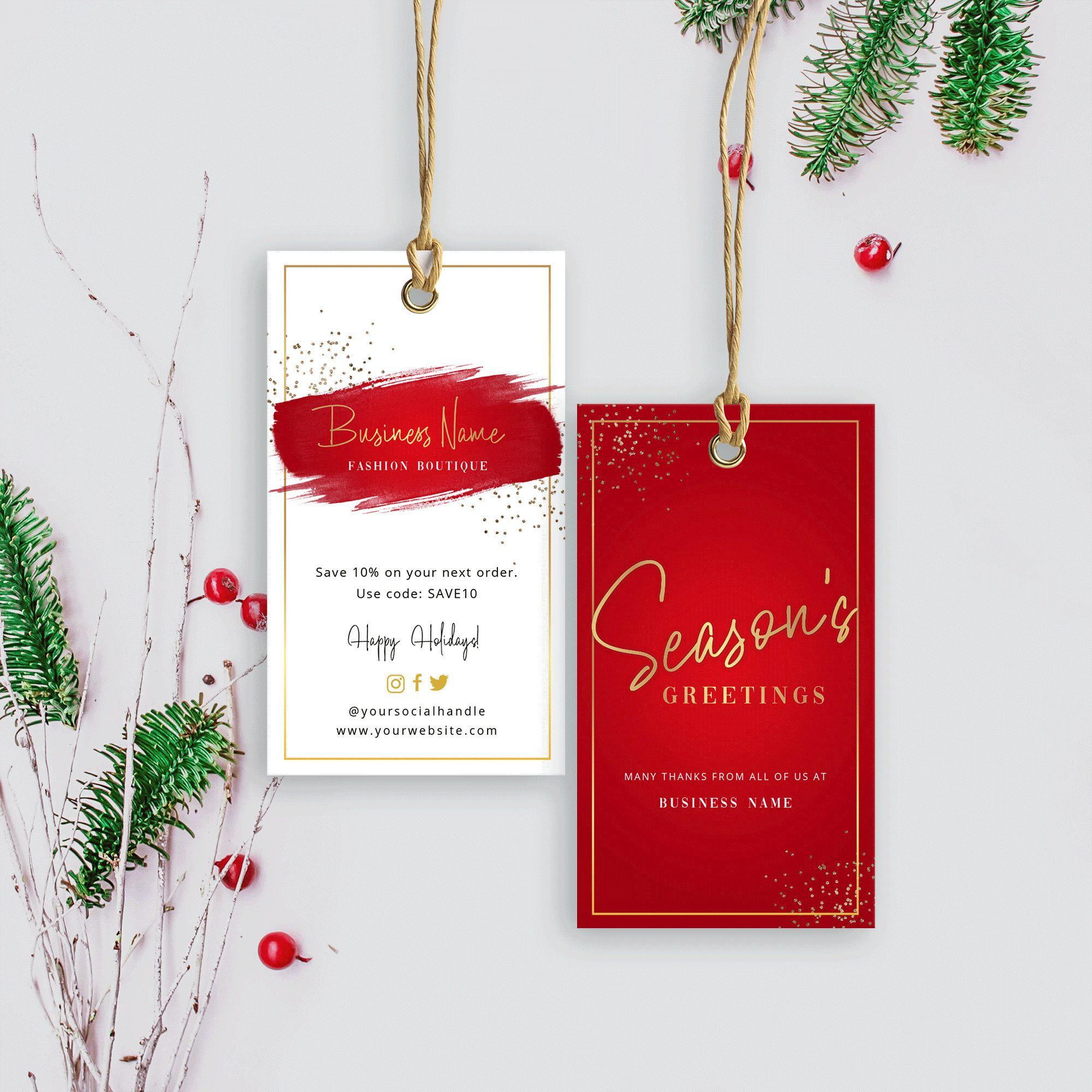 Editable Hang Tag Template Season S Greetings Hang Tags Christmas Swing Tag Holiday Tag Design Swing Tag Design Printable Xmas Tags Business Thank You Cards