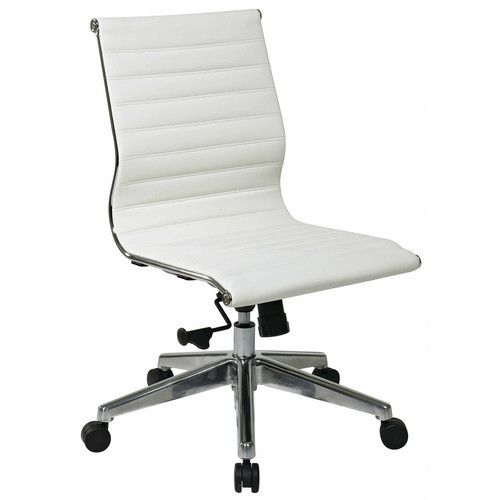 201 Office Star Mid Back Eco Leather Armless Office Chair Reviews Wayfair White Leather Office Chair Ergonomic Office Chair White Office Chair