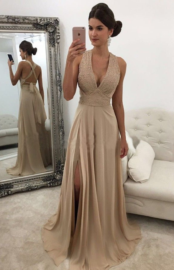 Elegant Prom DressesV Neck GownChampagne DressesLong DressSlit DressLong Evening Dresses