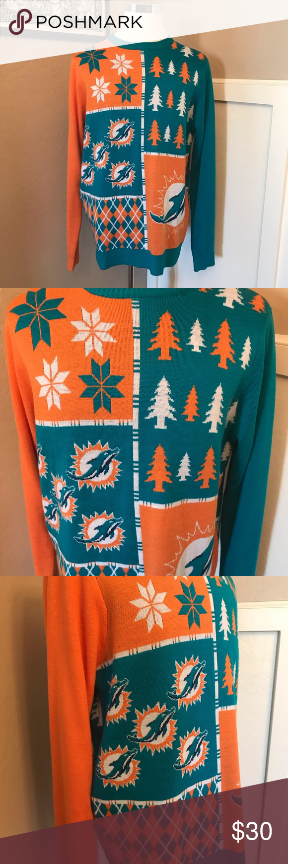 Miami Dolphins Ugly Christmas Sweater Mens Xl My Posh Picks