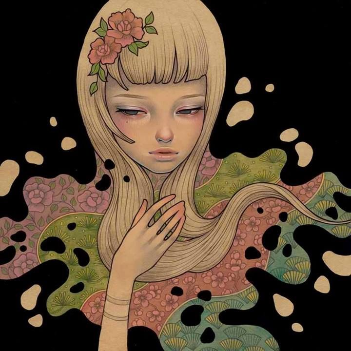 """Audrey Kawasaki's Art's amazing painting 'Lost in Thought', 2012. Oil, acrylic and graphite on wood panel, 9 x 9"""" in the December issue of Beautiful Bizarre Magazine - get your digital or print copy here http://www.beautifulbizarre.net/shop/4578400335"""