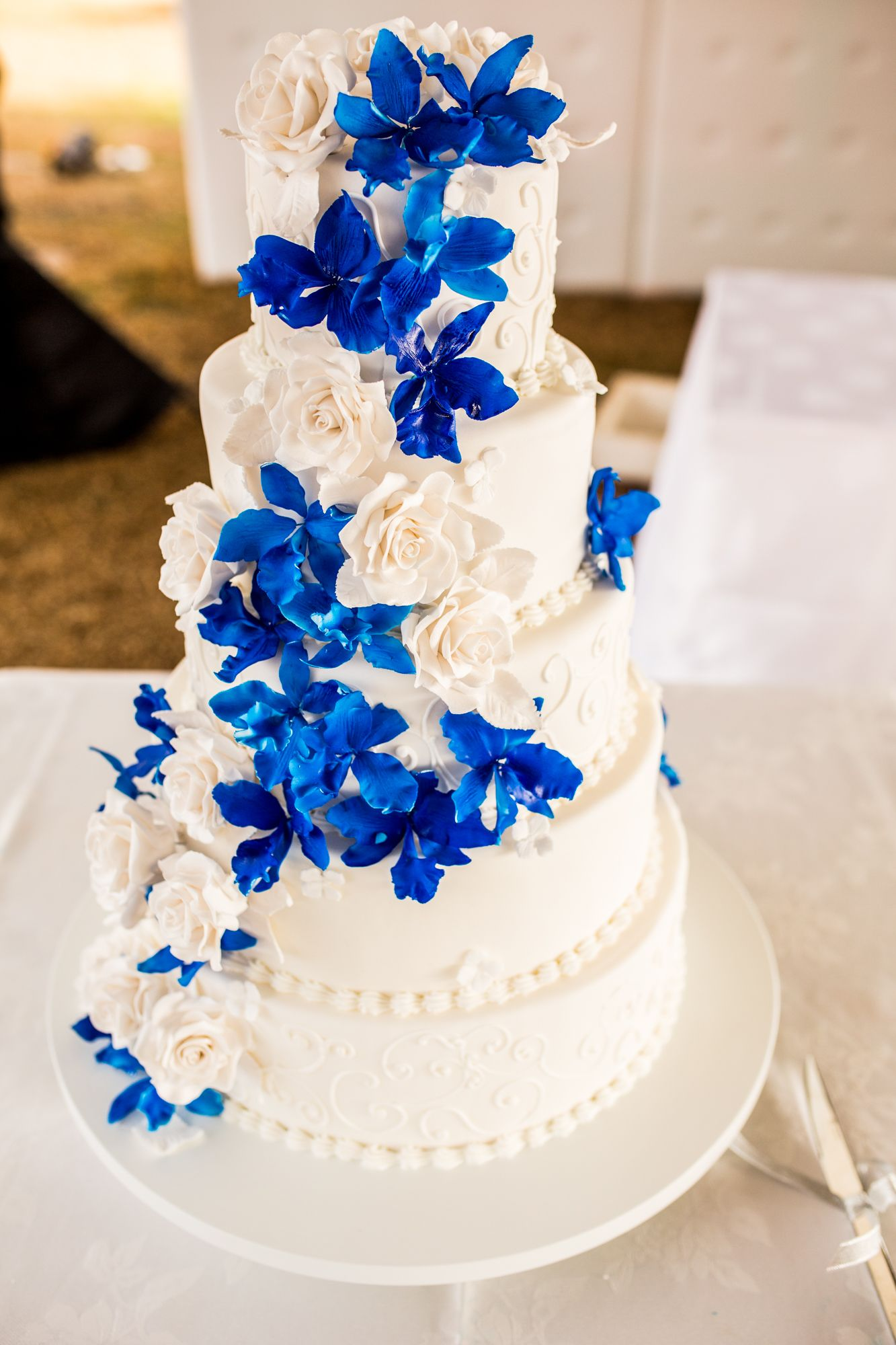Blue orchid wedding cake   Peacock   Royal Blue Wedding Theme     Blue orchid wedding cake