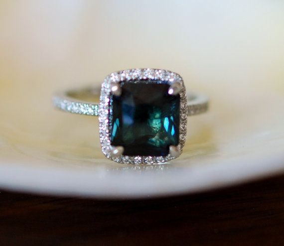Peacock Blue Sapphire ring. White Gold Engagement by EidelPrecious