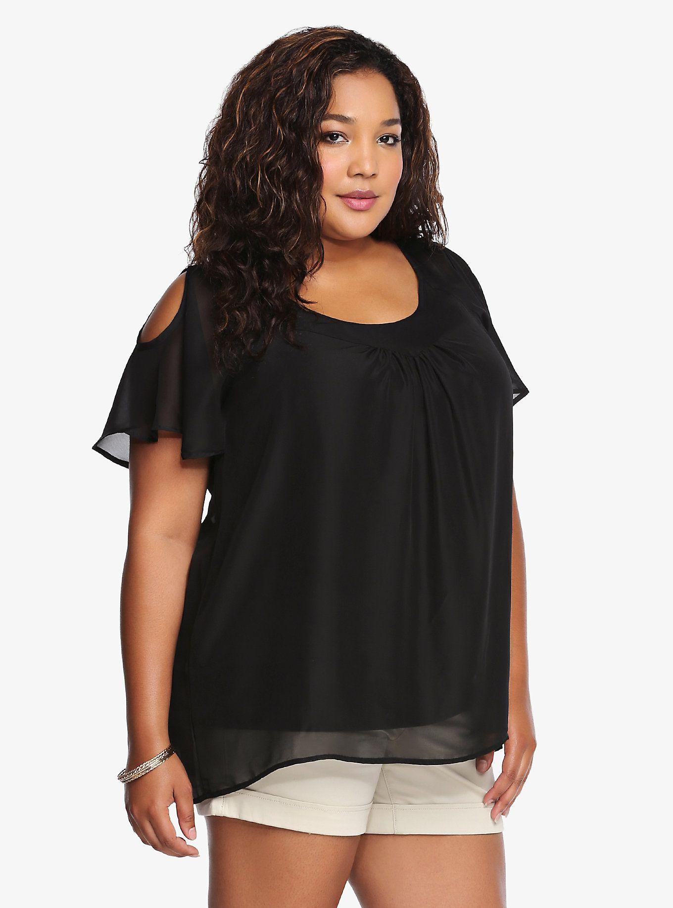 295187411efa1f Cold-Shoulder Flutter Sleeves Top | Torrid Plus Size Fashion For Women,  Trendy Plus
