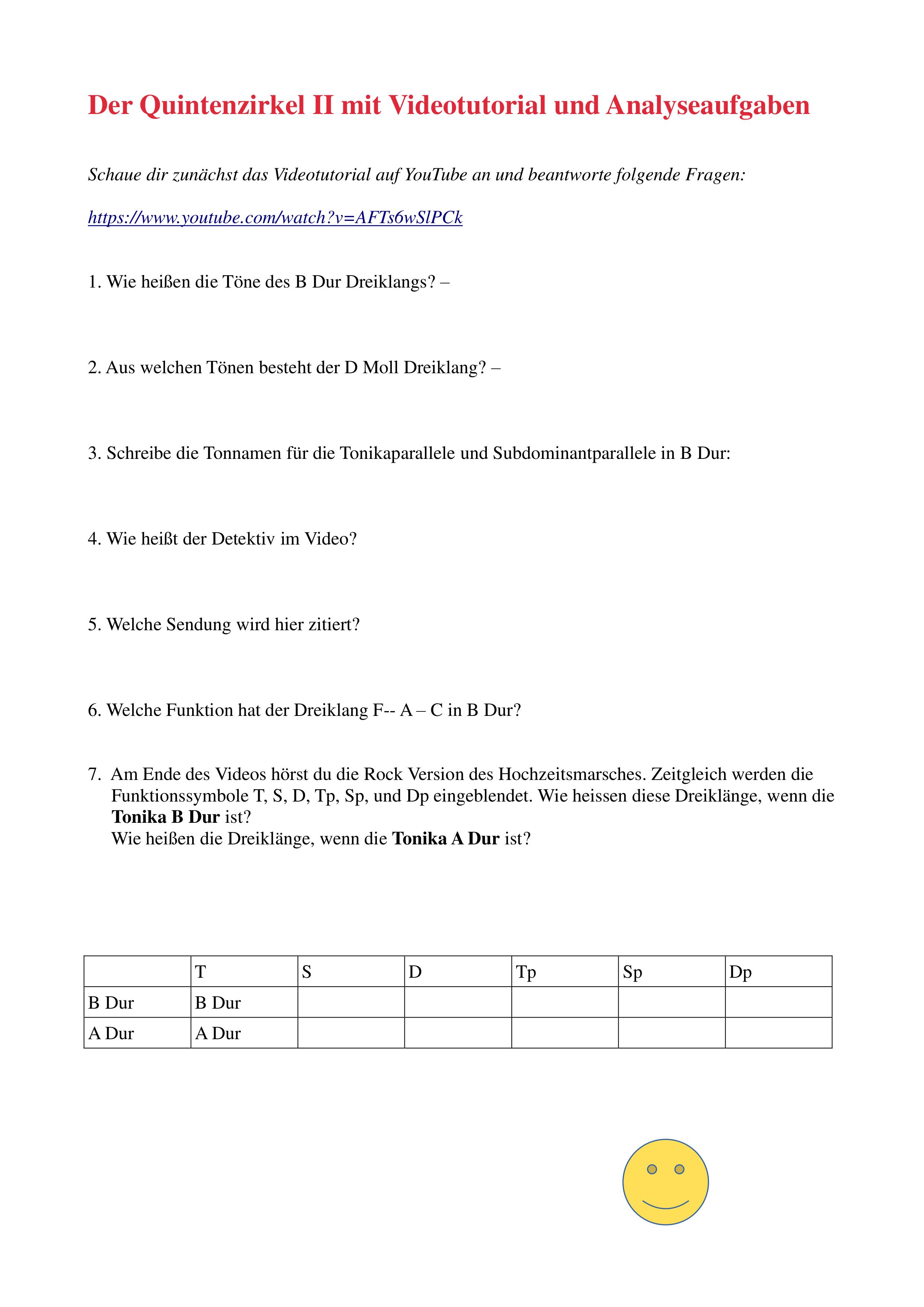 Der Quintenzirkel Ii Mit Videotutorial Und Analyseaufgaben Unterrichtsmaterial Im Fach Musik Zirkel Unterrichtsmaterial B Dur