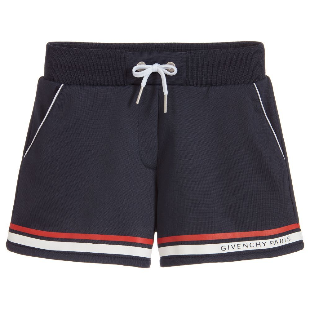 ad534465f8d07 ... blue shorts are made in silky technical jersey by Givenchy Kids. They  have a stretchy band around the waist, red and white stripes and a logo  print.