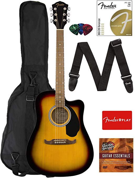Fender Fa 125ce Dreadnought Cutaway Acoustic Electric Guitar Sunburst Bundle With Gig Bag Strap Strings Pick Guitar Acoustic Electric Guitar For Beginners