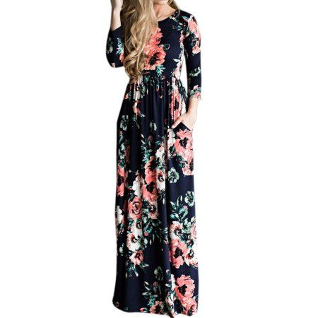 bd791295f34 ZXZY Women s Lady Long Sleeve Round Neck Floral Printed Maxi Dress - Walmart .com