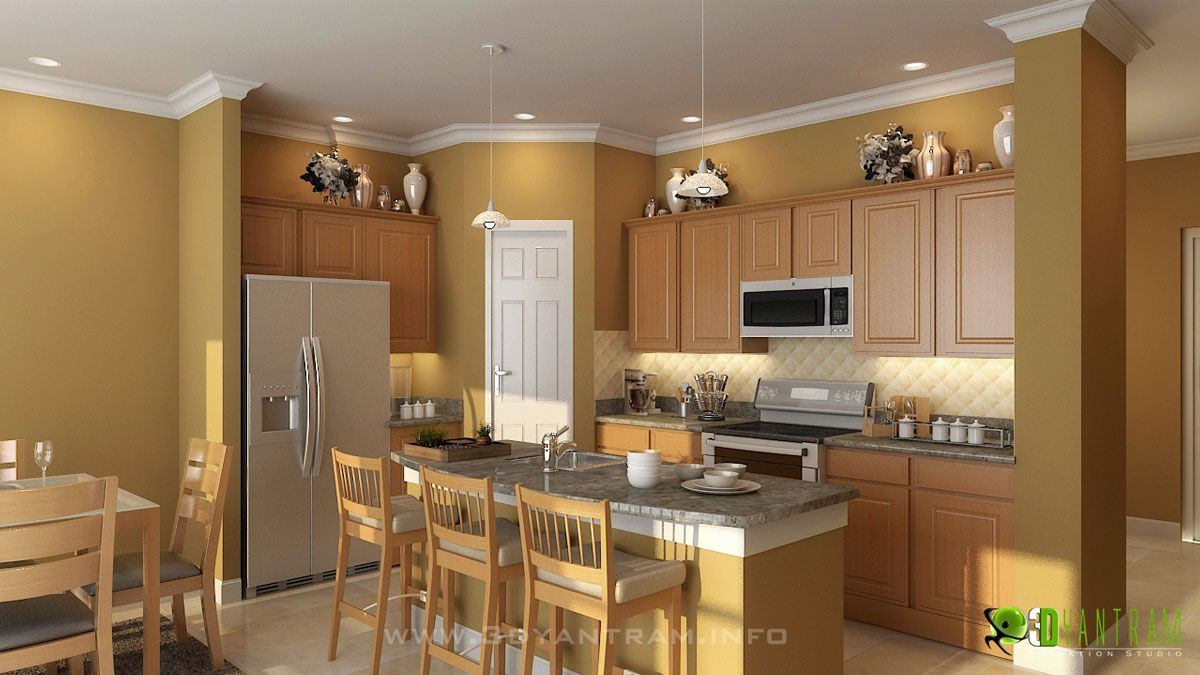 3D Residential Interior Modern Kitchen Design And Rendering  Http Captivating Kitchen 3D Design Inspiration