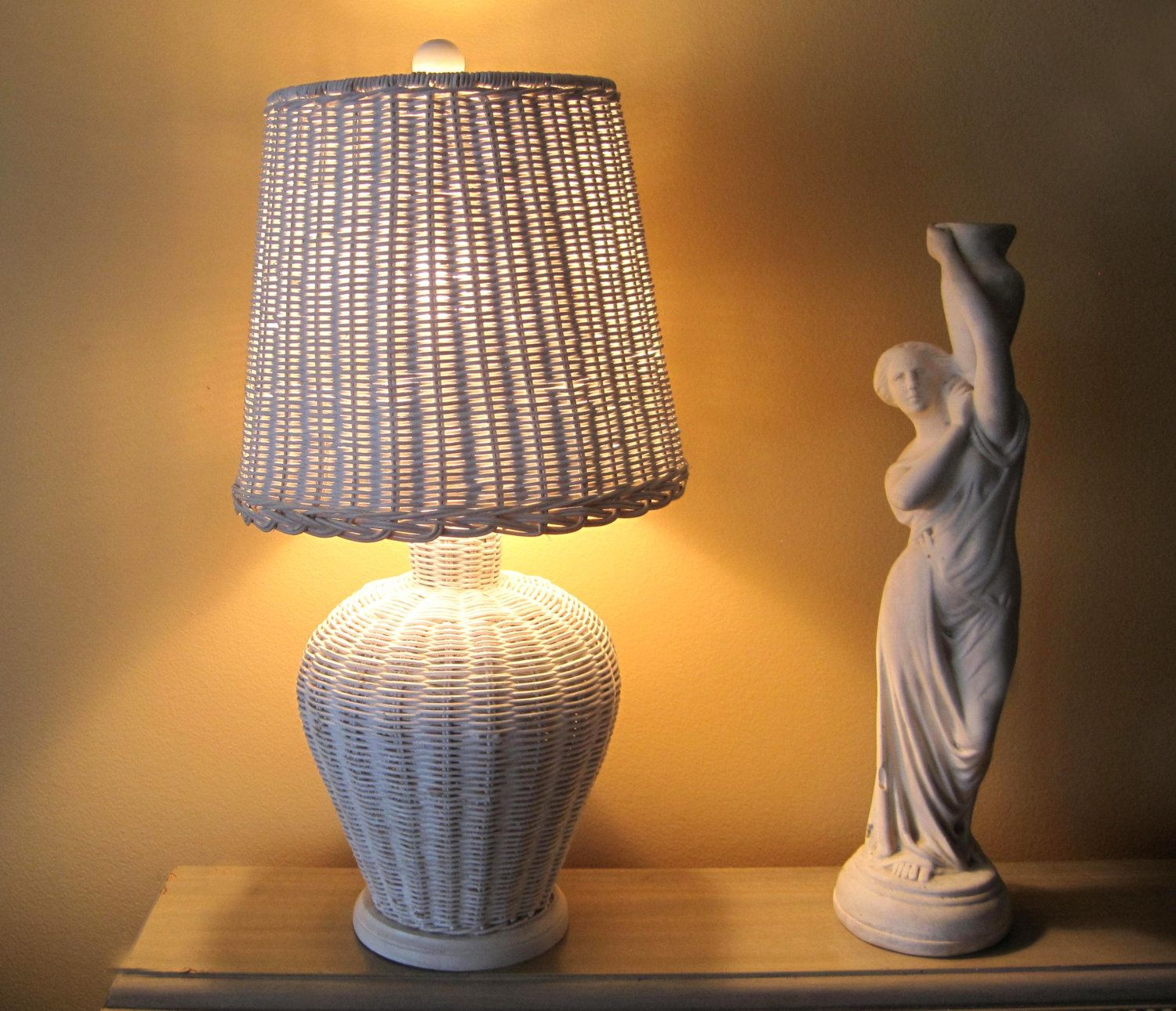 white wicker rattan table lamp and lampshade cottage chic white wicker rattan table lamp and lampshade cottage chic vintage lamp ginger jar shape base home decor white lamp white lampshade