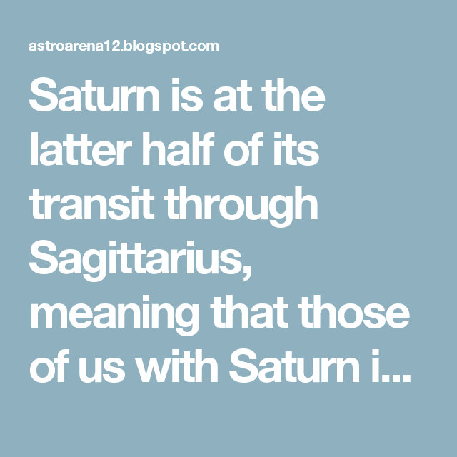 Saturn Is At The Latter Half Of Its Transit Through