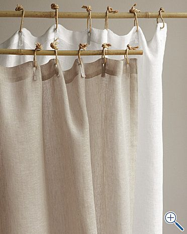 Linen Shower Curtain And The Ties Curtains Fabric Shower