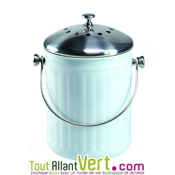 Poubelle A Compost Blanc Anti Odeur Pour Cuisine 4 Litres