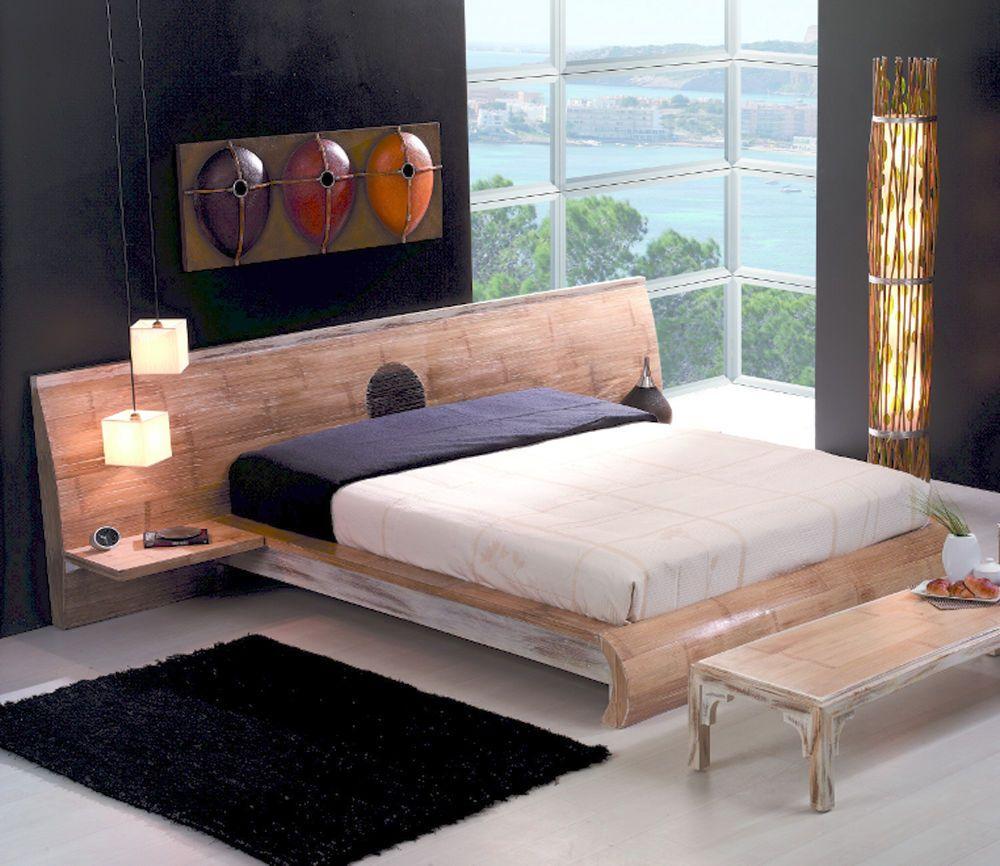 Designerbett MING 200x200 Bambusbetten mit Nachtkonsolen