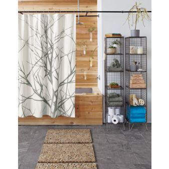 I think there's too much going on here, but I love the squares, vases, and shower.