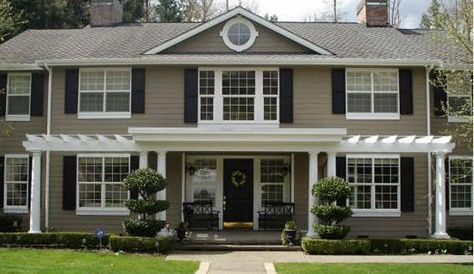 Taupe Exterior Paint With Black Colors For House Home