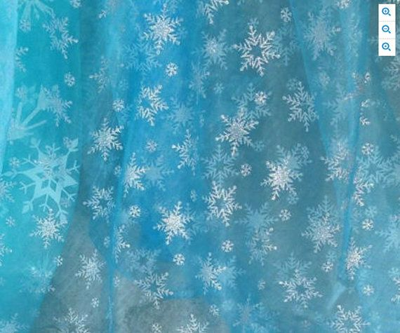 Frozen Fabric Queen Elsa Ice Sky Blue Snowflake Organza