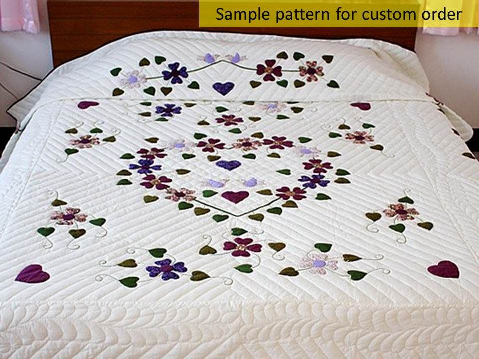 Hand sewn quilts dogwood&heart applique quilt amish handmade