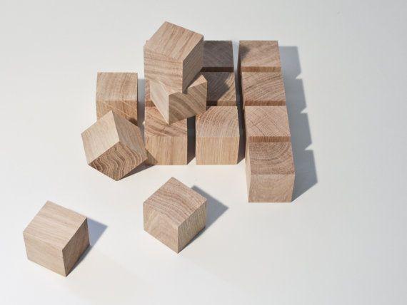 cubes bois diy - matériau naturel bricolage - lot de 16 blocs brut