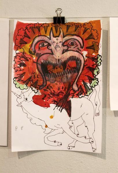 Uden Titel #106 - Kunstner, Illustrator, Halfdan Pisket, Illustration, Dyr, Mennesker, Surrealisme, : www.artunika.dk / www.artunika.com Uden titel #106 - 21 x 30. En original kunst illustration / tegning af kunstner Halfdan Pisket. lllustrationen er ikke indrammet.  Kunstner Halfdan Pisket, født 1985, er uddannet fra Det Kongelige Danske Kunstakademi 2003-2009 og er foruden billedkunsten ha...