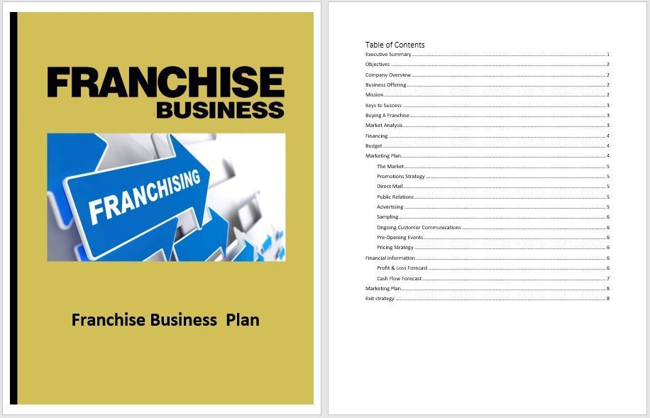 20 Franchise Business Plan Template in 2020 Business