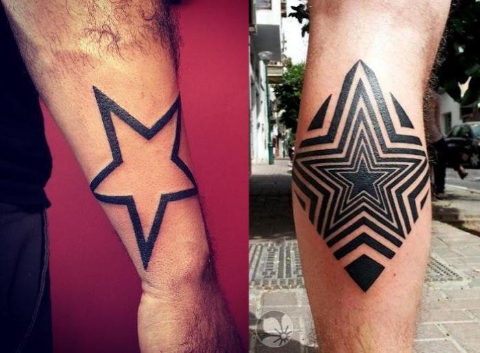 männer-tattoo-motive-sterne-unterarm-wade-tribal-stern