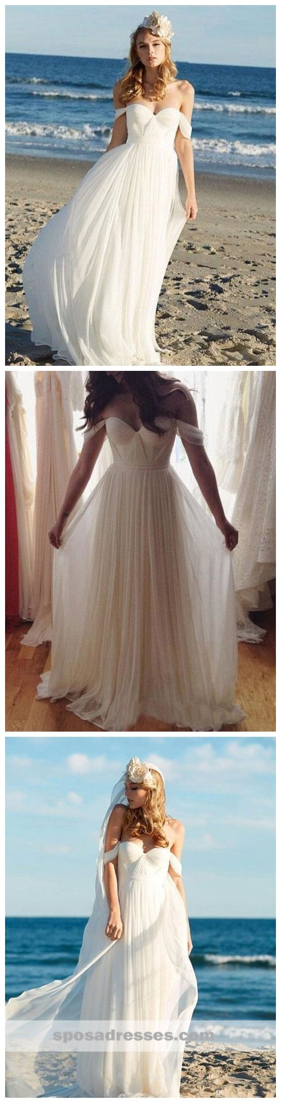 Off the shoulder beach wedding dresses  Simple Off Shoulder Beach Wedding Dresses Online Cheap Chiffon