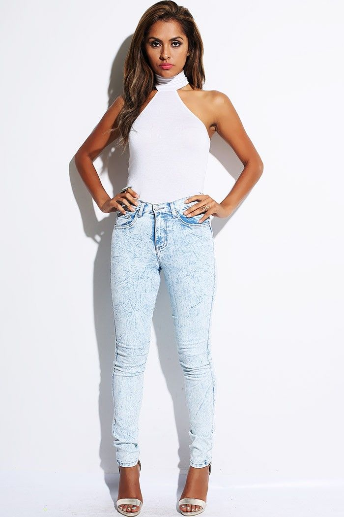 Fashion styles, Blue denim and High waist skinny jeans on Pinterest