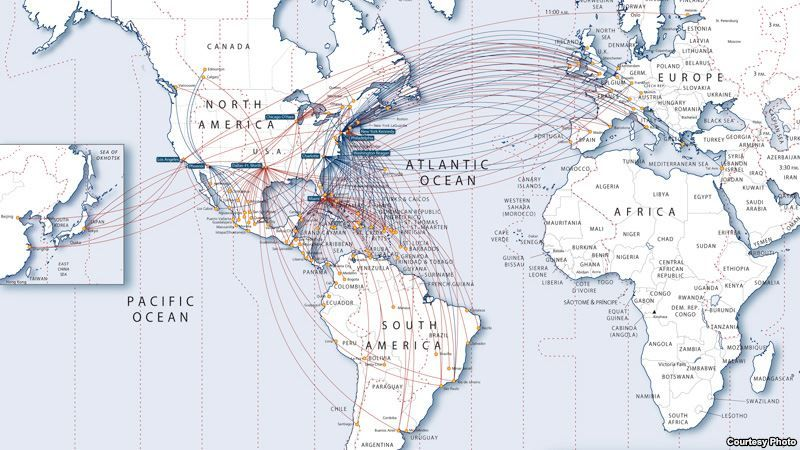 Us Airways Flight Map - Us airways direct flights map