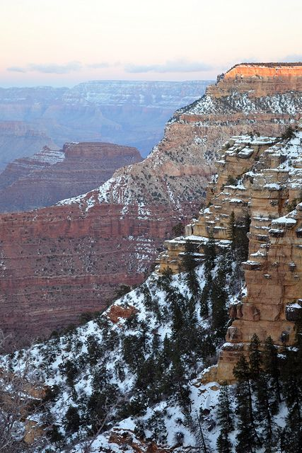 Picture I took of the Grand Canyon last weekend with snow at sunset.